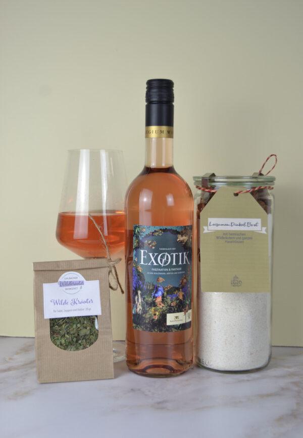 Genusspaket Exotik-Rosé und gesunde Brotbackmischung