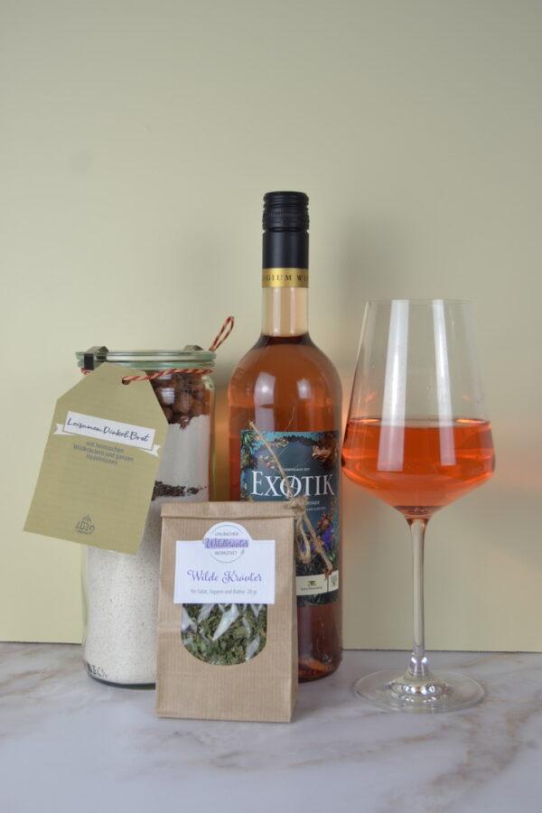 Genusspaket Exotik-Rosé und Brotbackmischung